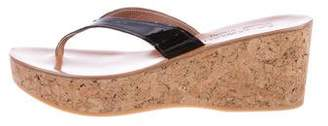 K Jacques St Tropez Patent Leather Thong Wedge Sandals
