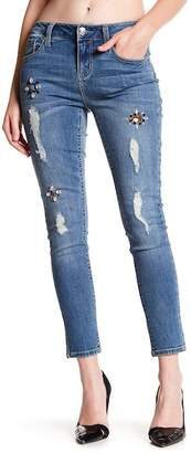 Seven7 Jewel Embellished & Distressed Detail Ankle Skinny Jeans