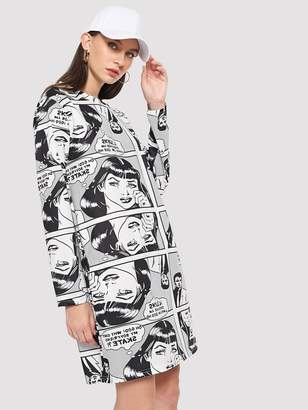 SheinShein Figure And Letter Print Dress