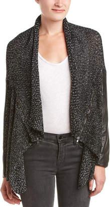 Michael Stars Leather-Trim Wool-Blend Cardigan