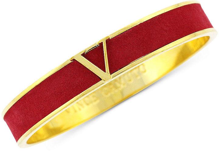 """Vince Camuto Bracelet, Gold-Tone Red """"V"""" Logo Bangle Bracelet"""