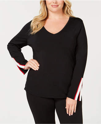 INC International Concepts I.n.c. Plus Size Varsity-Stripe Sweater, Created for Macy's