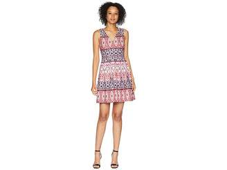 Vince Camuto Printed Scuba Double V-Neck Fit and Flare Dress