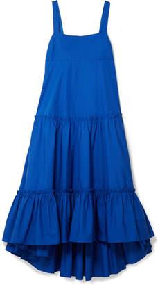 MDS Stripes Tiered Cotton-poplin Midi Dress