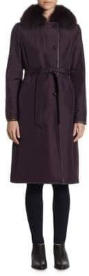 The Fur Salon Reversible Fox& Lamb Fur Collar Jacket