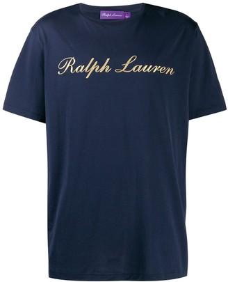 Ralph Lauren Purple Label gold logo printed T-shirt