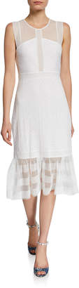 BCBGMAXAZRIA Lace Illusion Flounce A-Line Dress