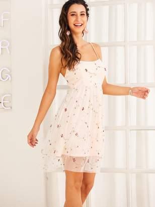 Shein SBetro Floral Embroidered Mesh Overlay Slip Dress