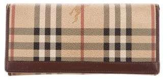 Burberry Leather-Trimmed Haymarket Check Wallet