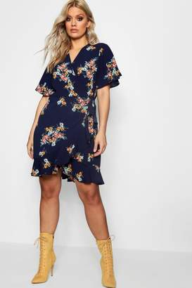boohoo Plus Floral Wrap Tea Dress