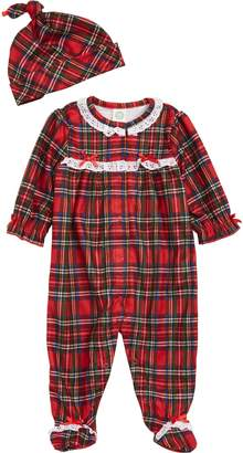 Little Me Plaid Footie & Hat Set