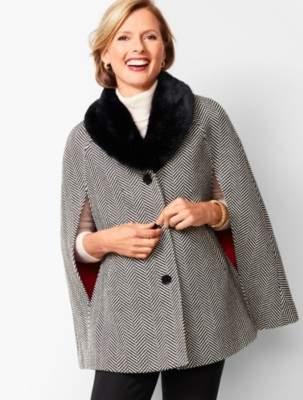 Talbots Faux-Fur Collar Herringbone Cape
