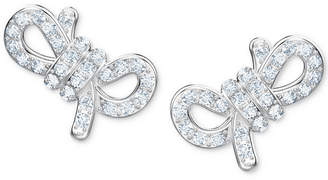 Swarovski Silver-Tone Pave Small Bow Stud Earrings