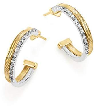 Marco Bicego 18K Yellow & White Gold Masai Two Row Pavé Diamond Hoop Earrings