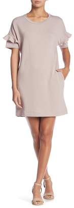 Lush Ruffle Sleeve French Tee Dress