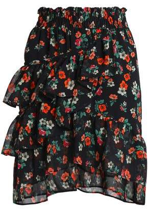 Maje Ruffled Floral-Print Georgette Mini Skirt