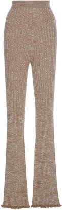 Jil Sander Ruffle Hem Wool-Blend Flared Pants