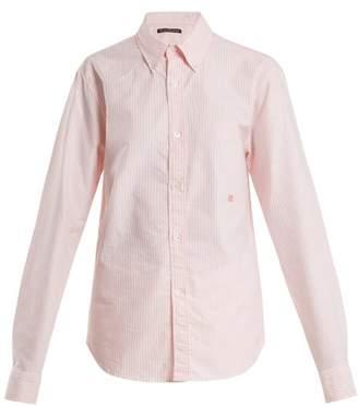 Acne Studios Face Striped Cotton Shirt - Womens - Pink Stripe
