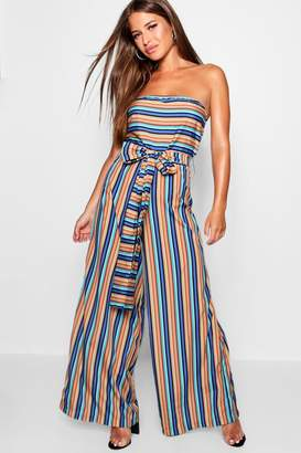 boohoo Petite Bella Strapless Belted Wide Leg Jumpsuit