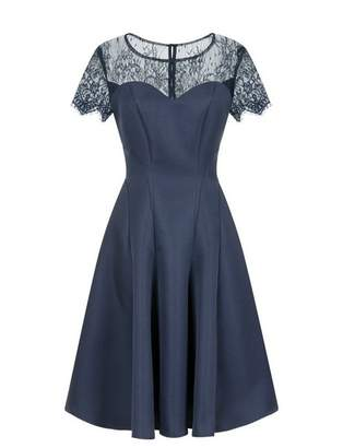 Evans **Chi Chi London Navy Blue Lace Skater Dress
