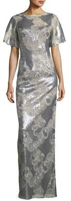 Rickie Freeman For Teri Jon Metallic Floral Scoop-Back Gown