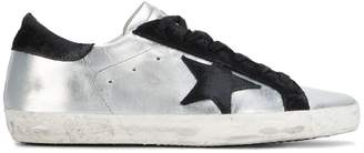 Golden Goose Silver Black Superstar Leather sneakers