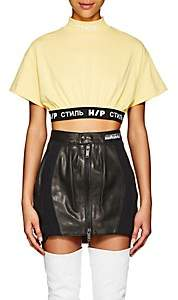 Heron Preston Women's Logo-Band Cotton Crop T-Shirt - Yellow