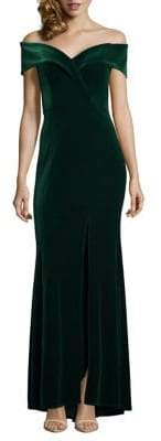 Xscape Evenings Off-the-Shoulder Mermaid Velvet Gown