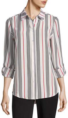 COMO BLU Como Blu Long Sleeve Roll Tab Stripe Blouse