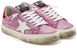 Golden Goose May Metallic Leather Sneakers