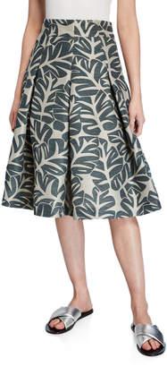 Akris Punto Tropical Leaf Pleated Fit-&-Flare Midi Skirt