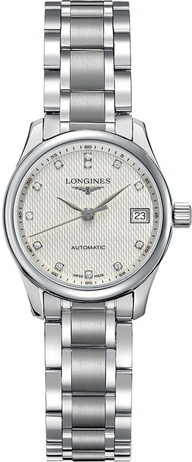 Longines Longines L2.128.4.77.6 Master automatic stainless steel and diamond watch