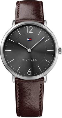 Tommy Hilfiger Men's Slim Sophisticated Sport Brown Leather Strap Watch 40mm 1710352