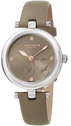 Akribos XXIV Silver Tone Casual Quartz Watch With Leather Strap [AK1044GY]