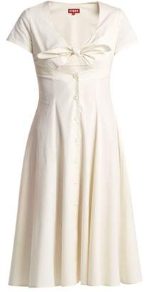 STAUD Alice Knotted Front Cotton Poplin Dress - Womens - Ivory