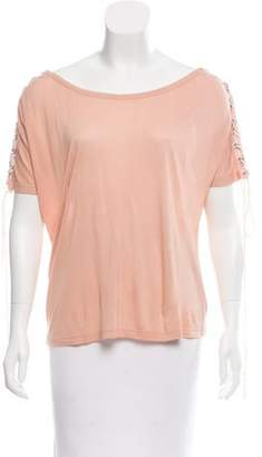 Rachel Zoe Lace-Up Short Sleeve Top