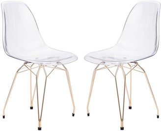 clear Zuo Modern Shadow Dining Chair 2-piece Set