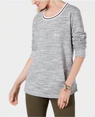 Style&Co. Style & Co Striped-Trim Sweatshirt, Created for Macy's