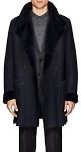 Giorgio Armani Men's Reversible Shearling Long Peacoat - Navy