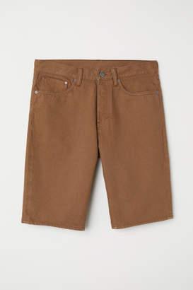 H&M Straight Denim Shorts - Beige