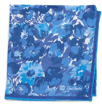 David Donahue Floral Linen Pocket Square
