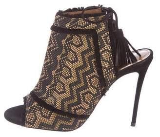 Aquazzura Raffia Peep-Toe Sandals