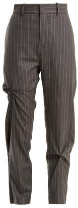 Charles Jeffrey Loverboy - High Rise Pinstripe Wool Trousers - Womens - Grey