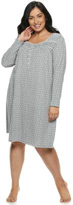 Croft & Barrow Plus Size Henley Nightgown