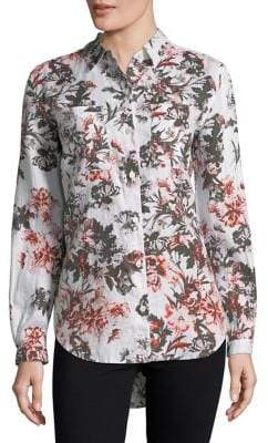 Lord & Taylor Petite Floral Linen Top