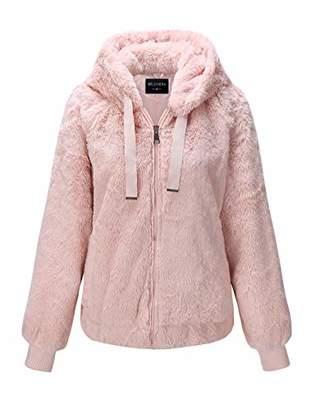 Bellivera Women's Faux Fur Jacket with 2 Side-Seam Pockets