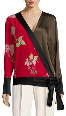 Diane von Furstenberg Long-Sleeve Crossover Silk Blouse