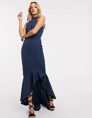 Chi Chi London fitted midi dress with high low hem and bow back in navy