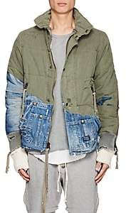 Greg Lauren Men's Denim & Canvas Quilted Jacket-Olive