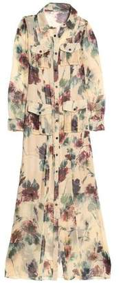 Haute Hippie Printed Silk Crepe De Chine Maxi Shirt Dress